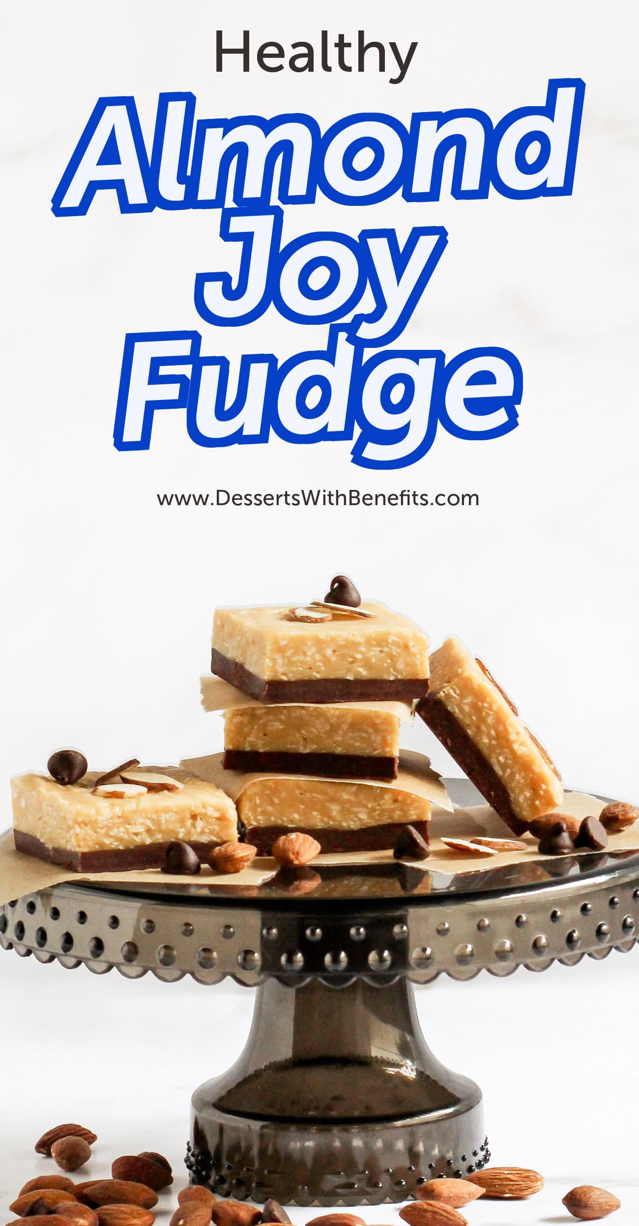 This Almond Joy Candy Fudge is healthy but doesn't taste healthy at all. It's just as soft, sweet and chewy as the original, but without the white sugar, hydrogenated oil, preservatives, and artificial ingredients. This fudge is refined sugar free, high fiber, high protein, and gluten free too!