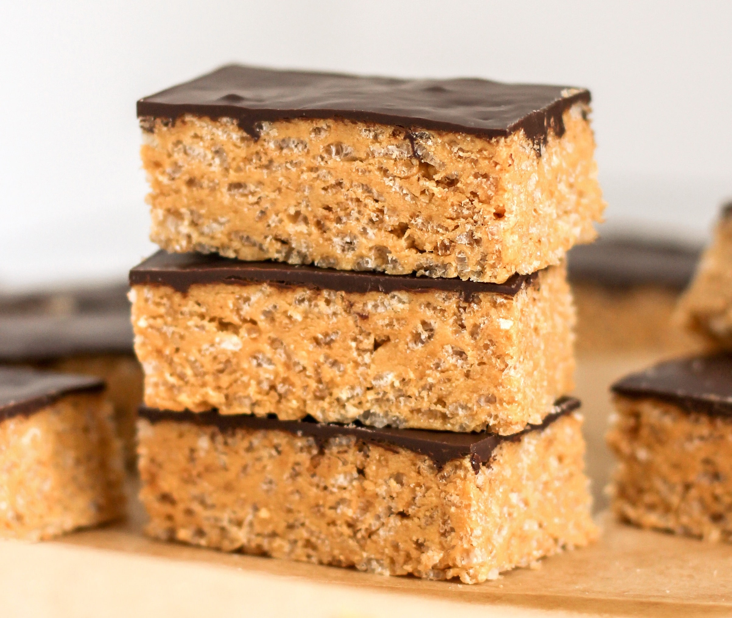 Healthy Scotcheroos DIY Protein Bars (Peanut Butter Butterscotch Krispy Treats with Dark Chocolate) from the DIY Protein Bars Cookbook – authored by Jessica Stier of the Desserts with Benefits Blog