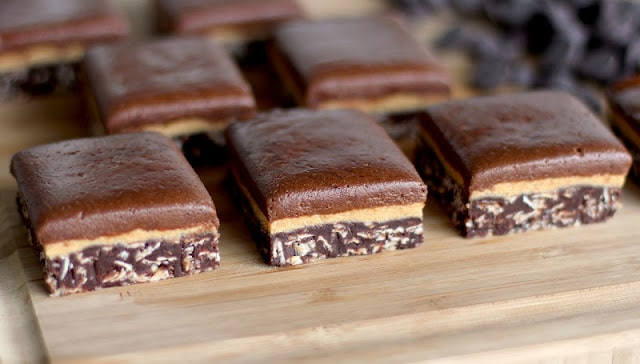 Healthy Triple Decker Chocolate Peanut Butter Fudge (refined sugar free, gluten free, high protein, no bake)