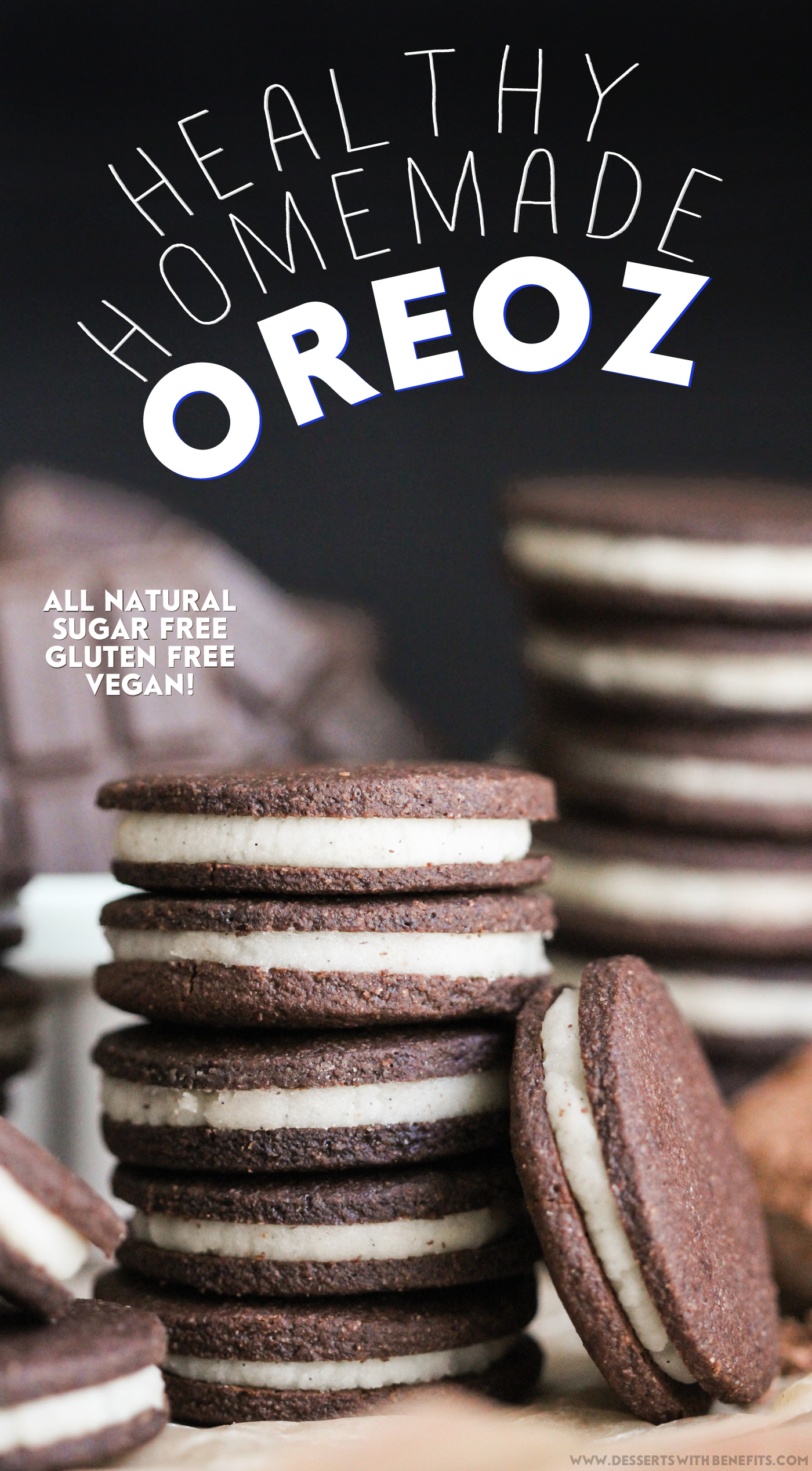 Healthy Homemade Oreos recipe (sugar free, gluten free, dairy free, vegan) - Healthy Dessert Recipes at Desserts with Benefits