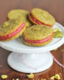 pistachio macarons with strawberry filling