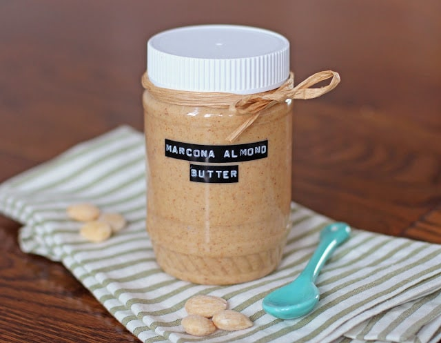 healthy homemade salted marcona almond butter
