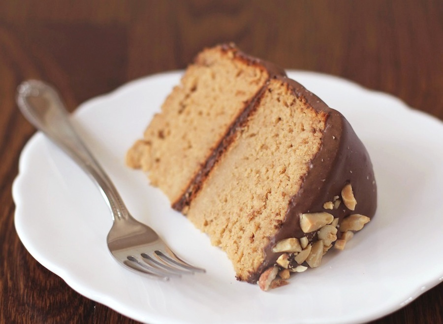 Healthy Peanut Butter Layer Cake with Chocolate Fudge Frosting