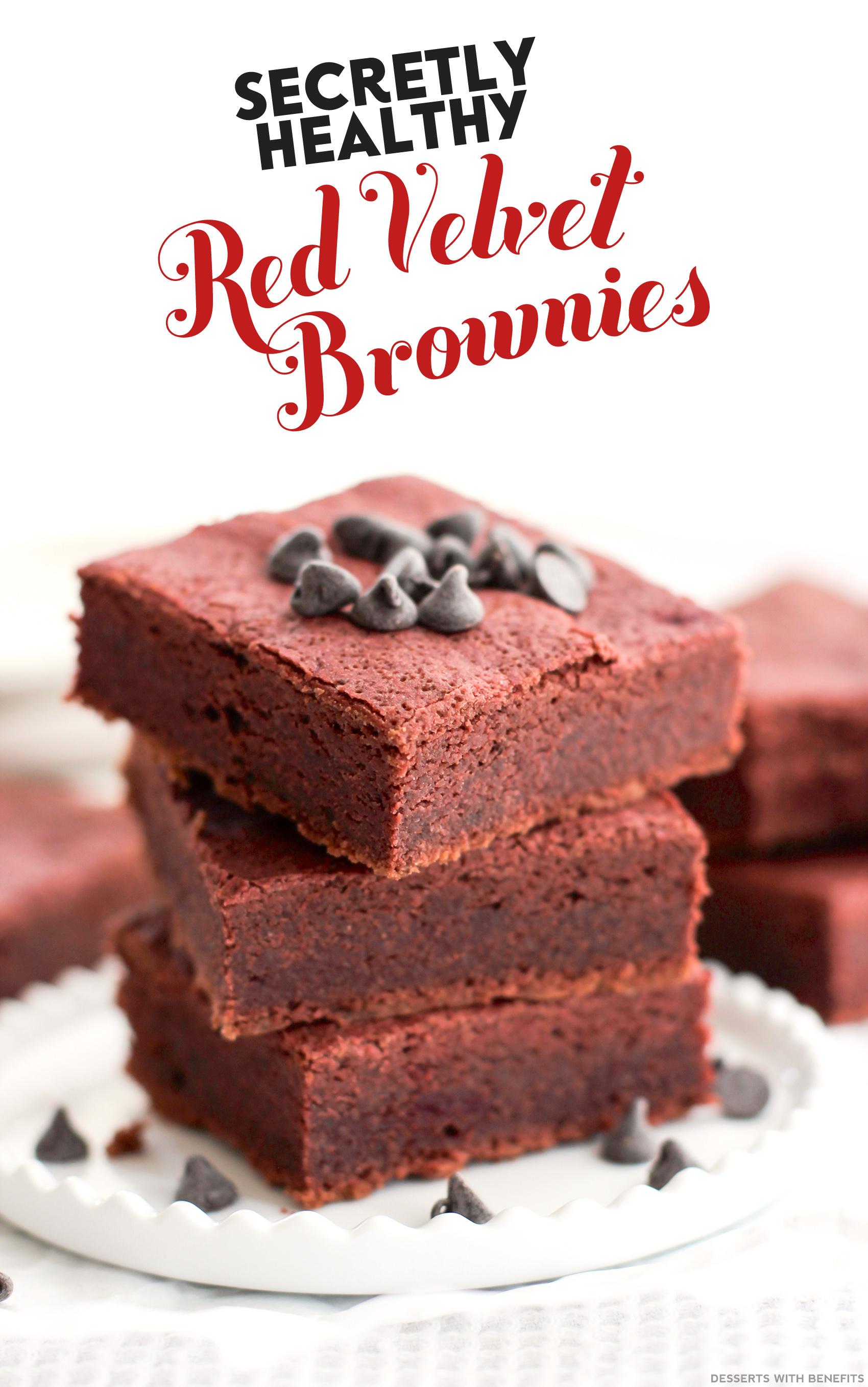 Healthy Red Velvet Brownies (refined sugar free, gluten free, vegan) - Healthy Dessert Recipes at Desserts with Benefits