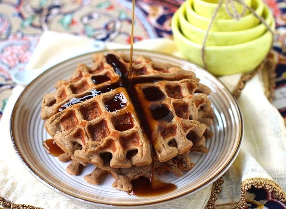 Healthy Quinoa Protein Waffles! These waffles are super soft and fluffy, yet refined sugar free, gluten free, and high protein!