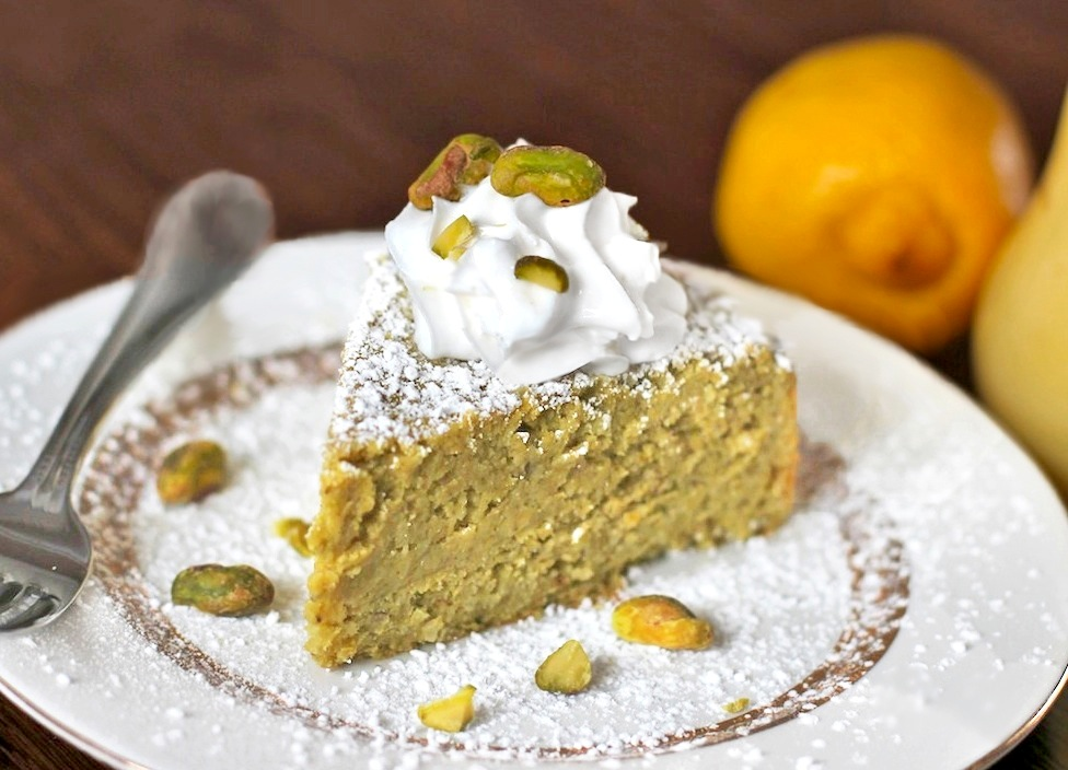 Healthy Whole Lemon Pistachio Cake (no sugar added, gluten free)