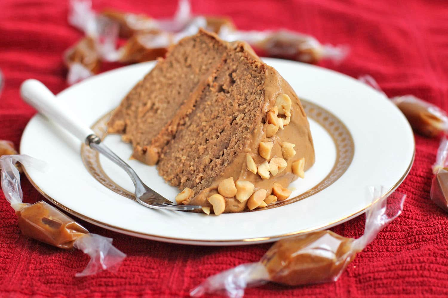 Healthy Peanut Butter Banana Cake with Caramel Frosting Gluten Free