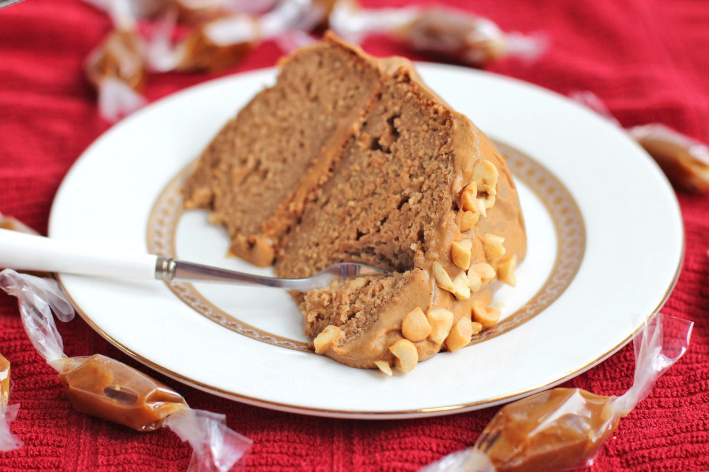Guilt Free Peanut Butter Banana Cake with Caramel Frosting