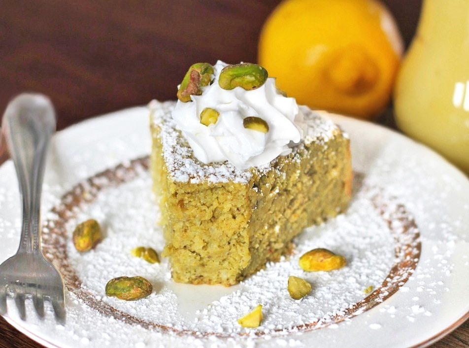 Healthy Whole Lemon Pistachio Cake (gluten free)