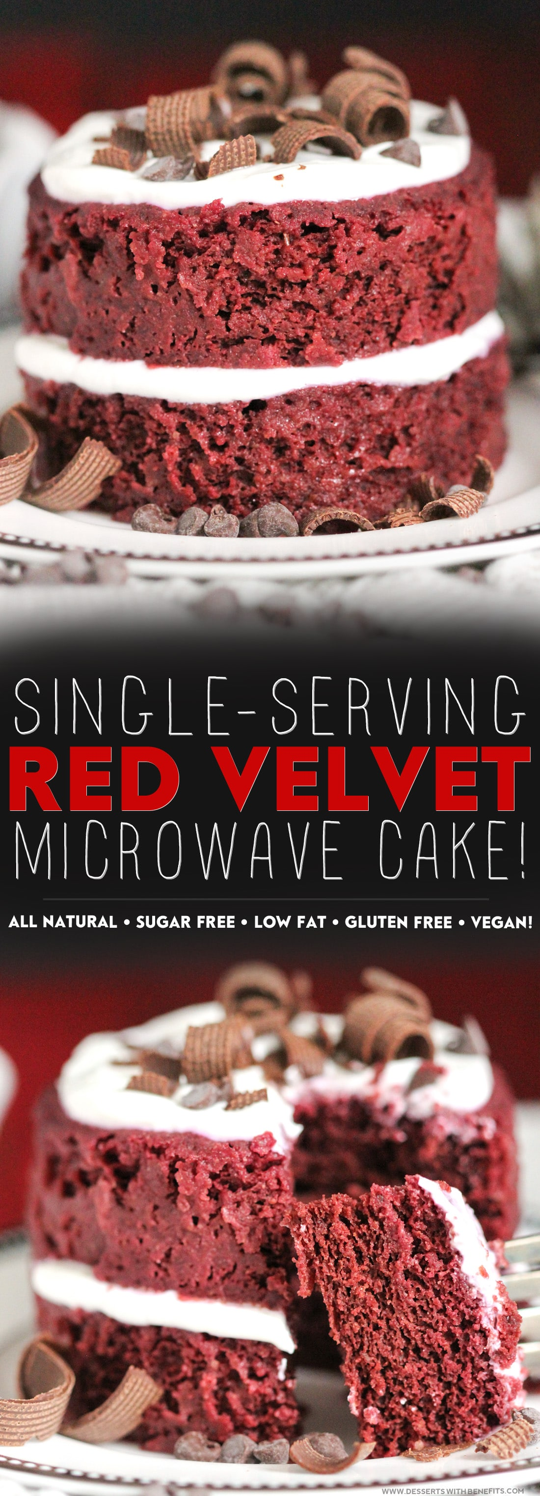 "Healthy Single-Serving Red Velvet Microwave Cake recipe -- soft, fluffy, and sweet, and takes just a few minutes to make and ""bake!"" (refined sugar free, low fat, high fiber, gluten free, dairy free, vegan, eggless) -- Healthy Dessert Recipes at Desserts with Benefits"