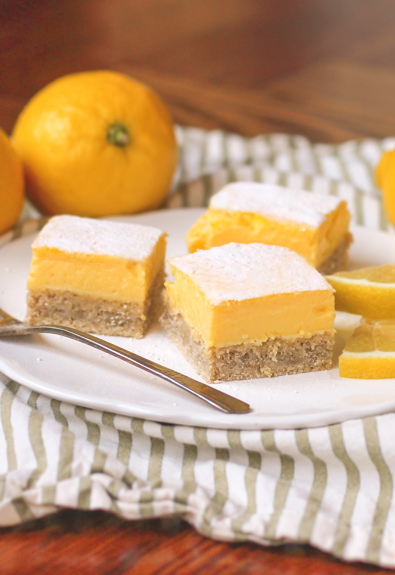 These Healthy Lemon Bars are made with stevia instead of refined sugar.  They are sugar