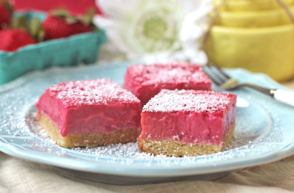 Healthy Pink Raspberry Lemon Bars - Desserts with Benefits