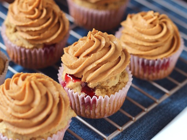 Peanut Butter and Jelly Cupcakes… frosted and ready to EAT.