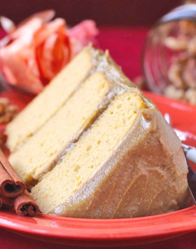 Healthy Pumpkin Layer Cake with a Special Butterscotch Protein Frosting