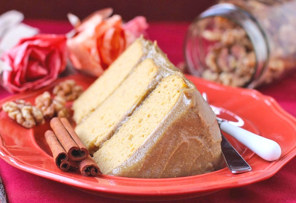 Healthy Pumpkin Cake with Butterscotch Frosting