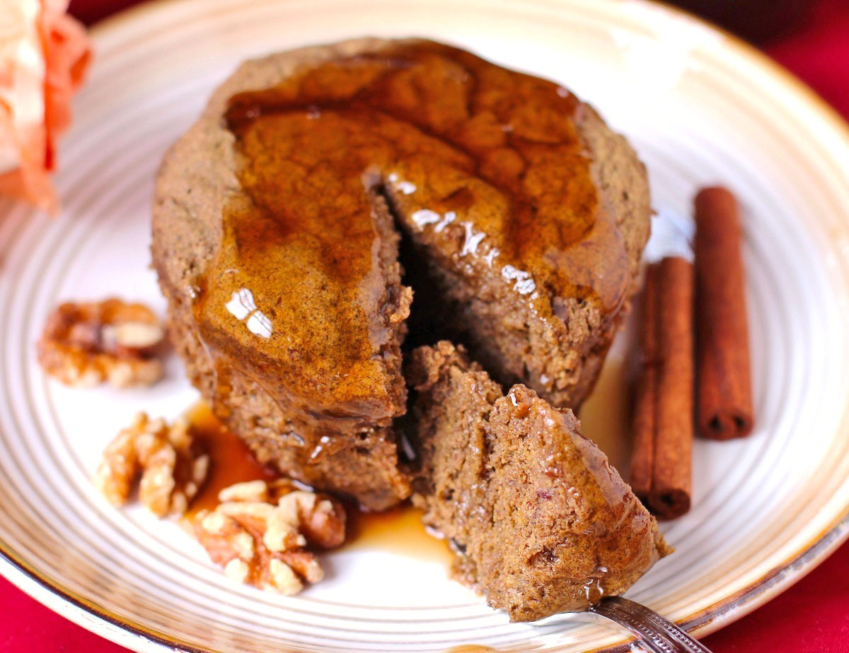 Healthy Single-Serving Pumpkin Buckwheat Microwave Cake