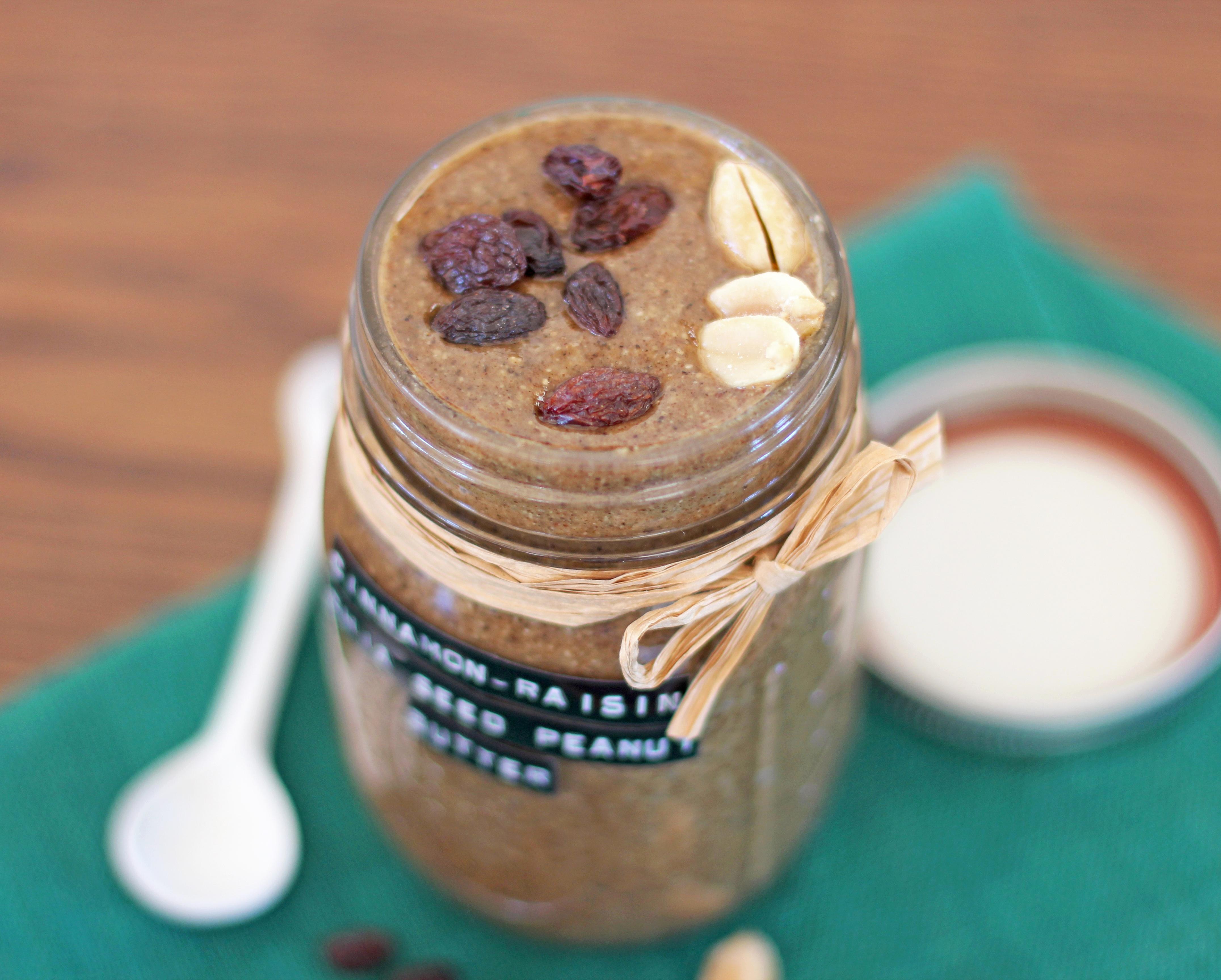 Healthy Cinnamon Raisin Chia Seed Peanut Butter (refined sugar free, gluten free, dairy free, vegan) - Healthy Dessert Recipes at Desserts with Benefits