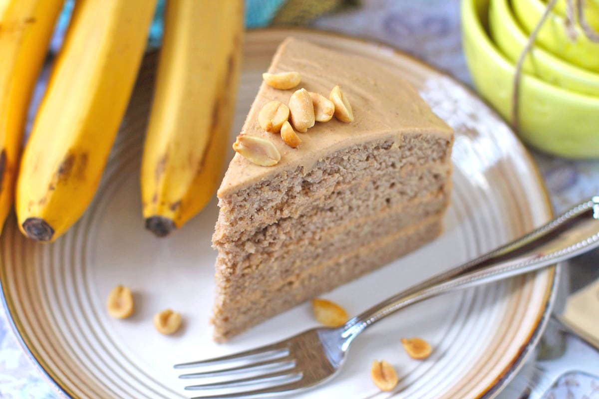 Low Fat Gluten Free Cake Recipes: Healthy Banana Cake With Peanut Butter Frosting