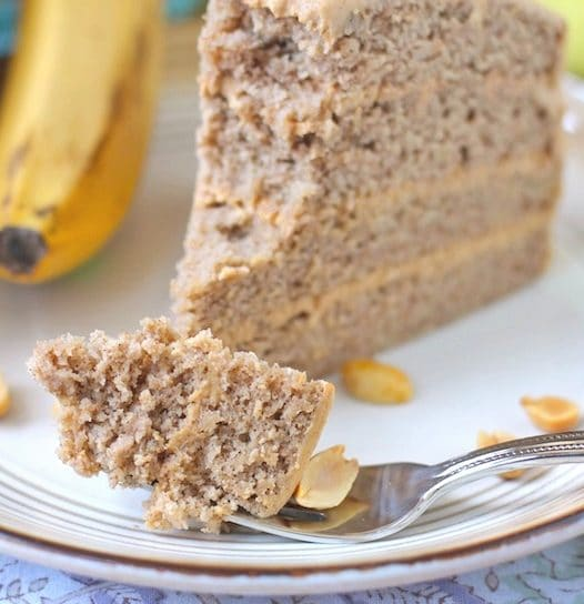 Healthy Banana Cake with Peanut Butter Frosting