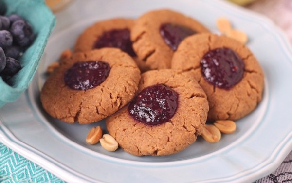 Healthy Peanut Butter and Jelly Thumbprint Cookies - DWB