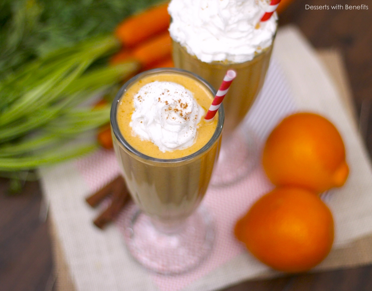 Healthy Carrot Cake Milkshake (gluten free, sugar free, low fat)
