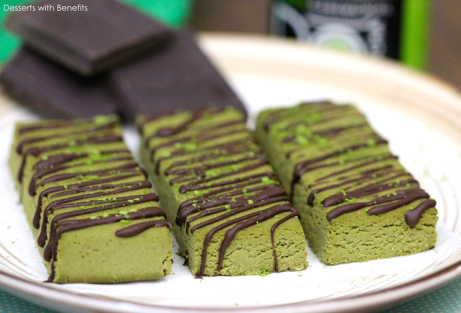 Healthy Matcha Green Tea Fudge Protein Bars (low sugar, low fat, gluten free, vegan)