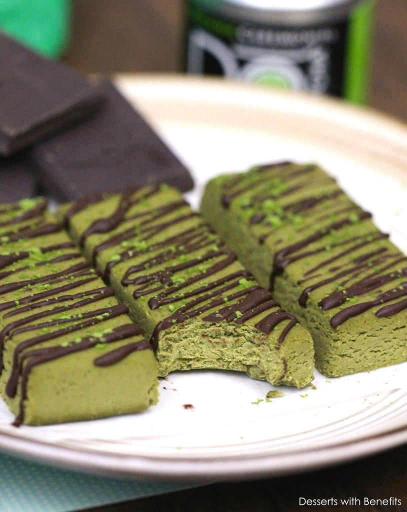 Healthy Homemade Matcha Green Tea Fudge Protein Bars - Healthy Dessert Recipes at Desserts with Benefits