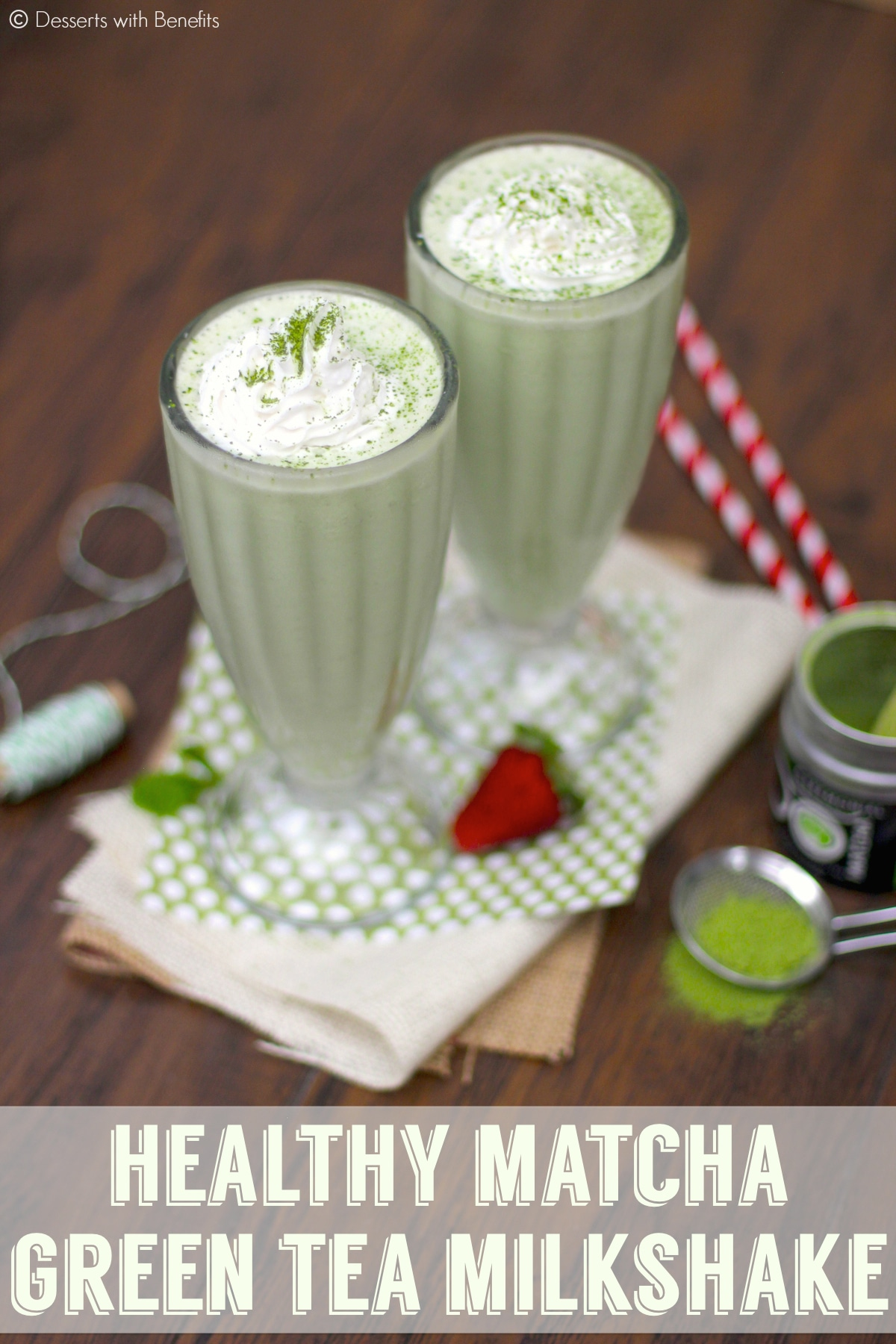 This Healthy Matcha Green Tea Milkshake is creamy, sweet, and sophisticated. You'd never know it's naturally green, low fat, low carb, and high protein too!