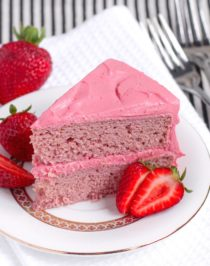 Healthy Strawberry Cake with Strawberry Frosting (refined sugar free, gluten free, high protein, high fiber) from the Naughty or Nice Cookbook: The ULTIMATE Healthy Dessert Cookbook – Jessica Stier of Desserts with Benefits