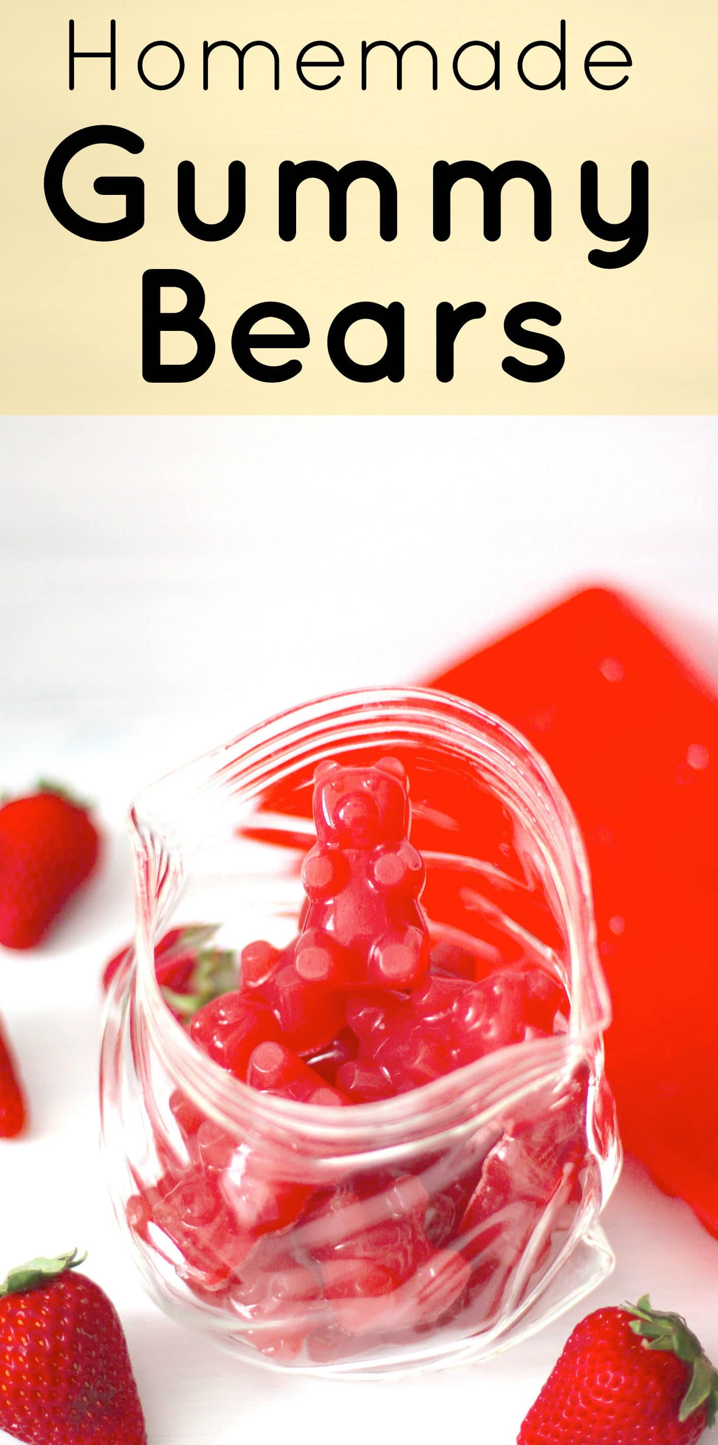 Healthy Homemade Strawberry Gummy Bears (fat free, refined sugar free, low carb) - Healthy Dessert Recipes at Desserts with Benefits