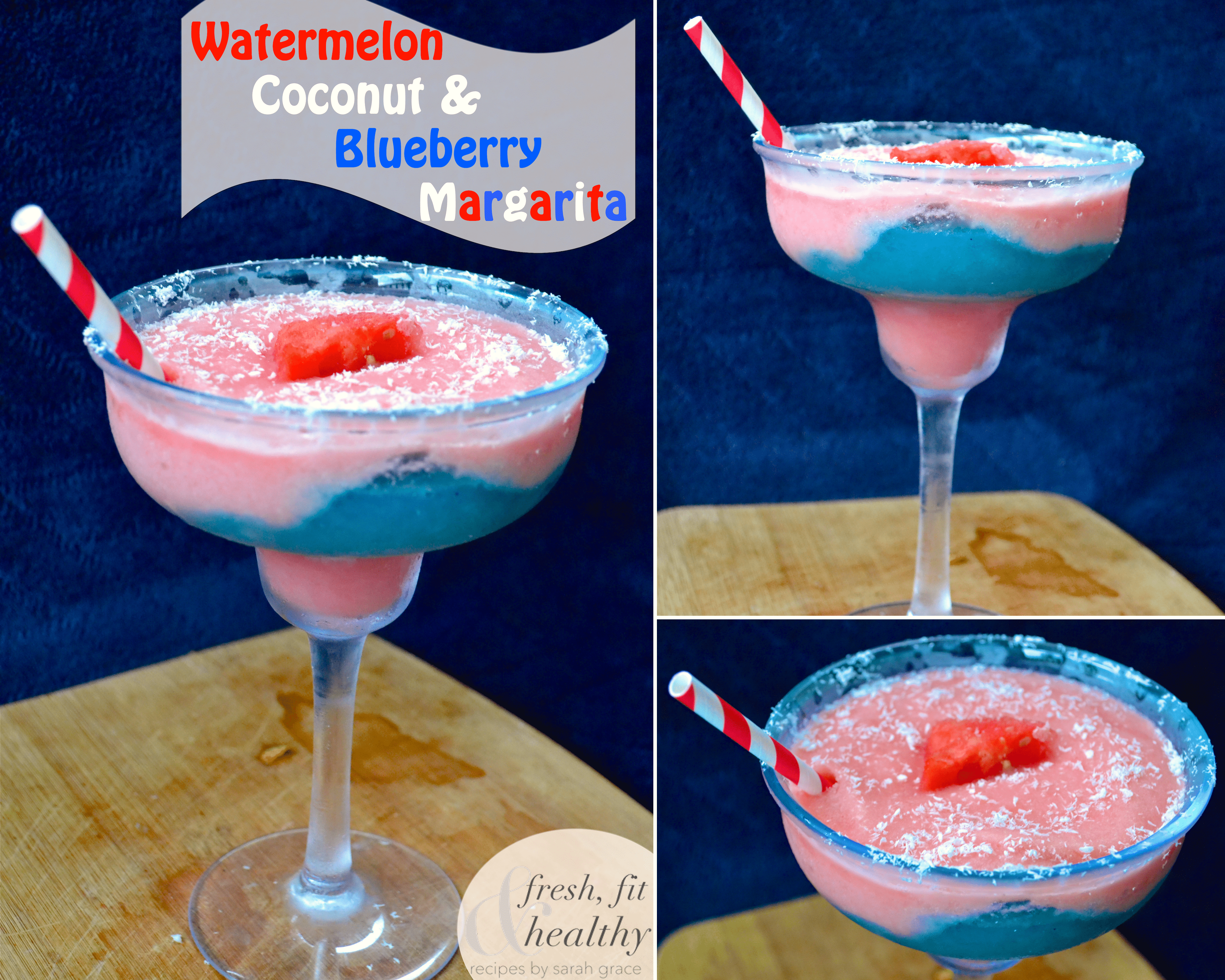 Red White and Blue Margarita for July 4th! Watermelon, Coconut and Blueberry Margarita by Fresh Fit & Healthy - Desserts with Benefits