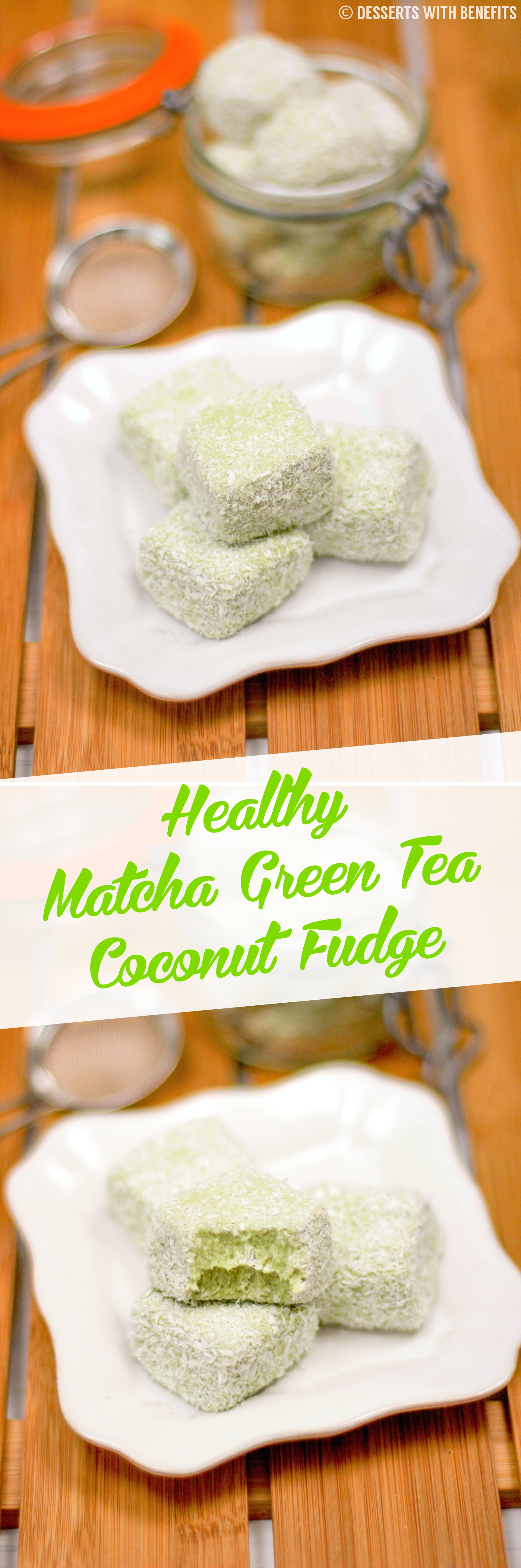 Healthy Matcha Green Tea Coconut Fudge recipe (refined sugar free, low carb, high protein, high fiber, gluten free) - Healthy Dessert Recipes at Desserts with Benefits