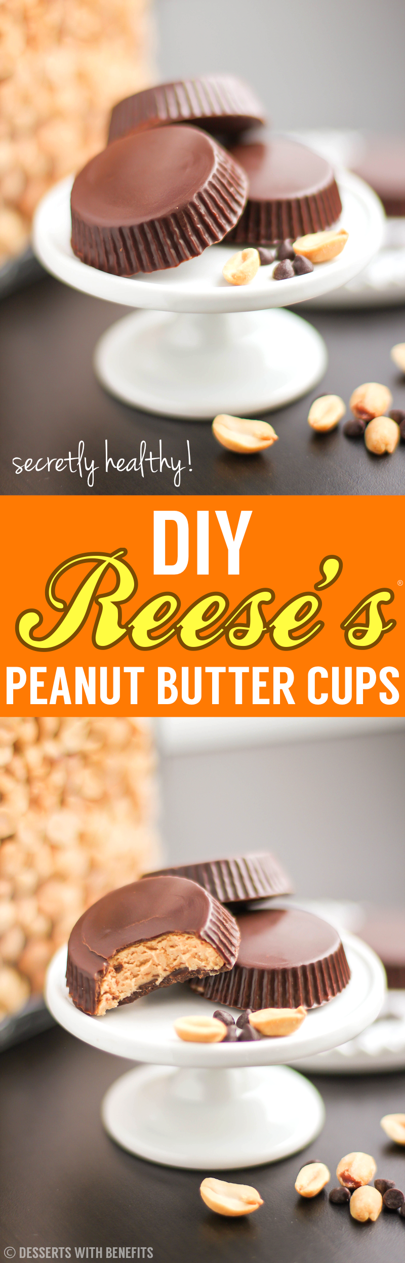Healthy Homemade Reese's Peanut Butter Cups recipe - Healthy Dessert Recipes at Desserts with Benefits