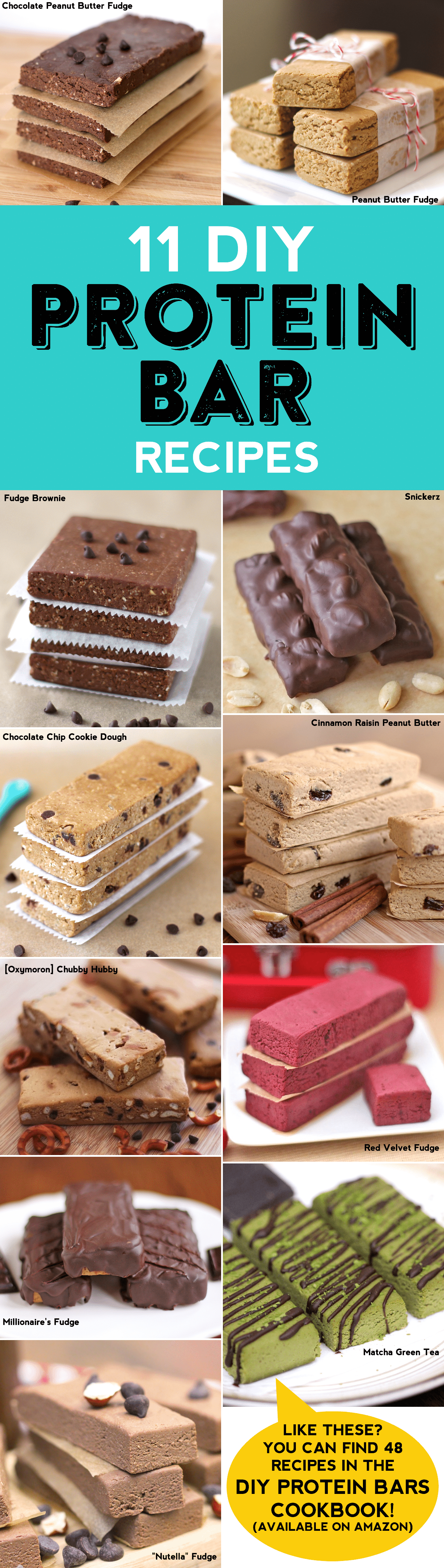 DIY Protein Bars is a collection of 48 easy, healthy, homemade, no-bake treats that taste like dessert, but just happen to be packed with protein!