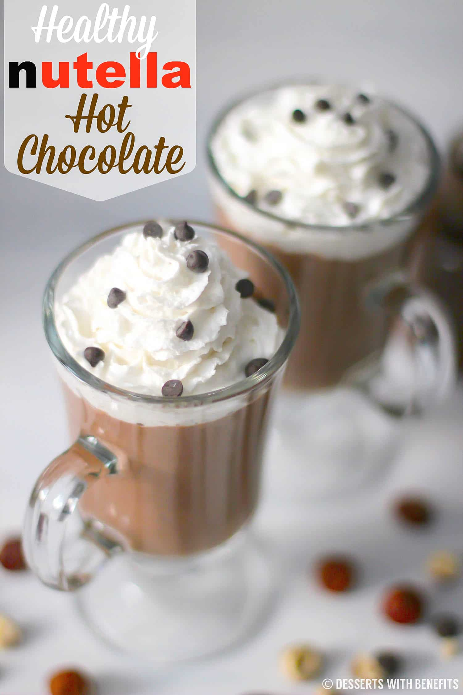 Healthy Nutella Hot Chocolate recipe (sugar free, vegan) - Healthy Dessert Recipes at Desserts with Benefits