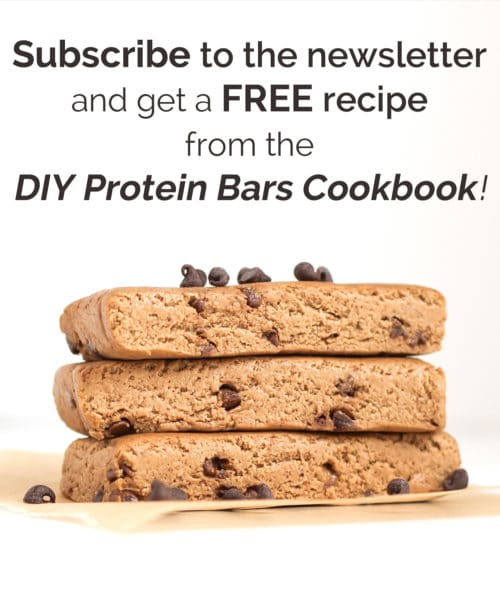 Subscribe to the Desserts With Benefits newsletter and never miss a recipe, get treated with exclusive goodies, and get a FREE recipe from the DIY Protein Bars Cookbook!