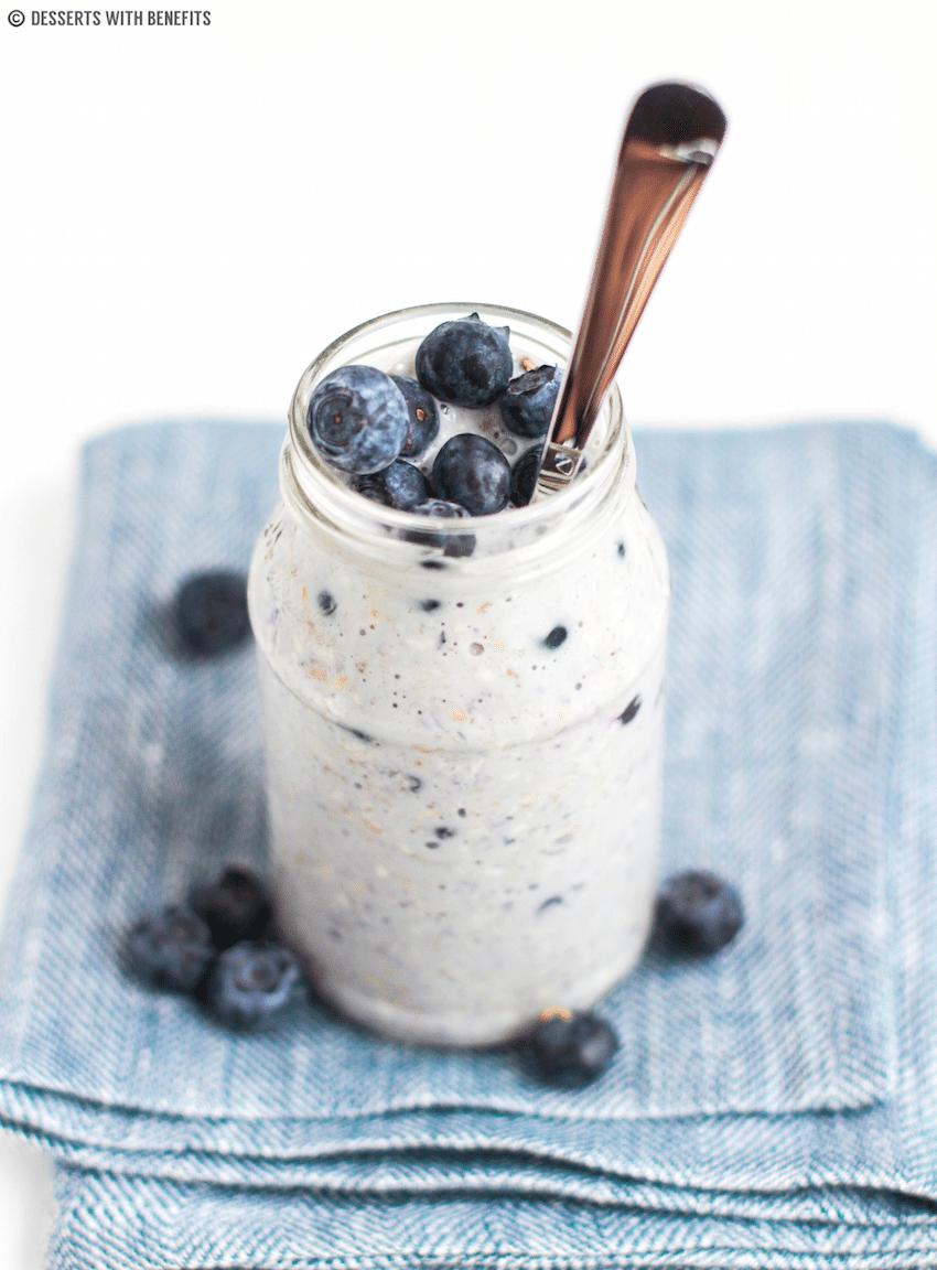 Healthy Blueberry Muffin Overnight Dessert Oats recipe - Healthy Dessert Recipes at Desserts with Benefits