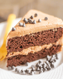 Healthy Chocolate Cake with Peanut Butter Frosting recipe (sugar free, low carb, high protein, gluten free) - Desserts with Benefits