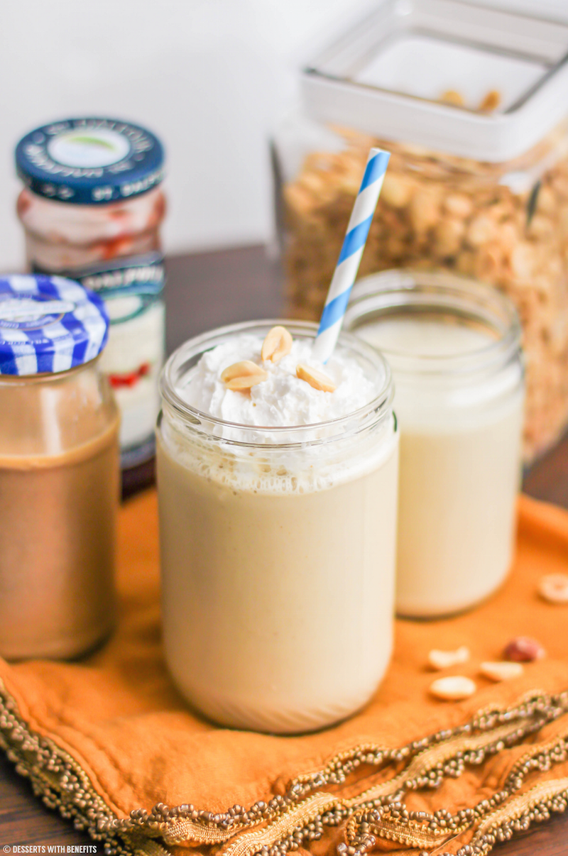 Healthy Peanut Butter and Jelly Smoothie Recipe (refined sugar free, high protein, gluten free) - Desserts with Benefits