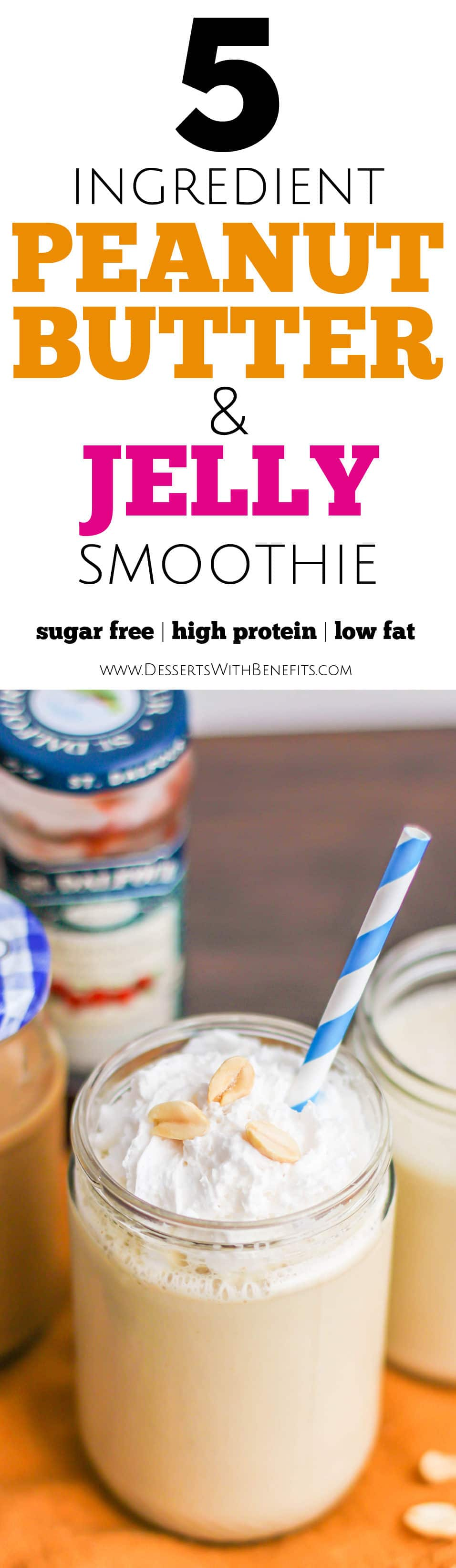 This sweet, rich and creamy Healthy Peanut Butter and Jelly Smoothie sure doesn't taste refined sugar free, low fat, high protein, high fiber, and gluten free in the slightest! -- Healthy Dessert Recipes at Desserts with Benefits