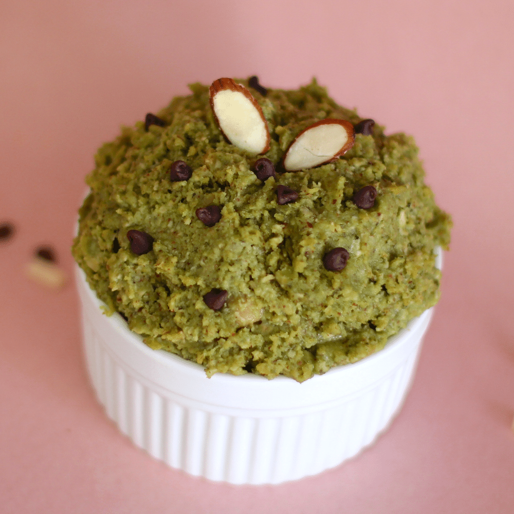 Healthy Matcha Green Tea Cookie Dough recipe (gluten free, high protein) - Desserts with Benefits