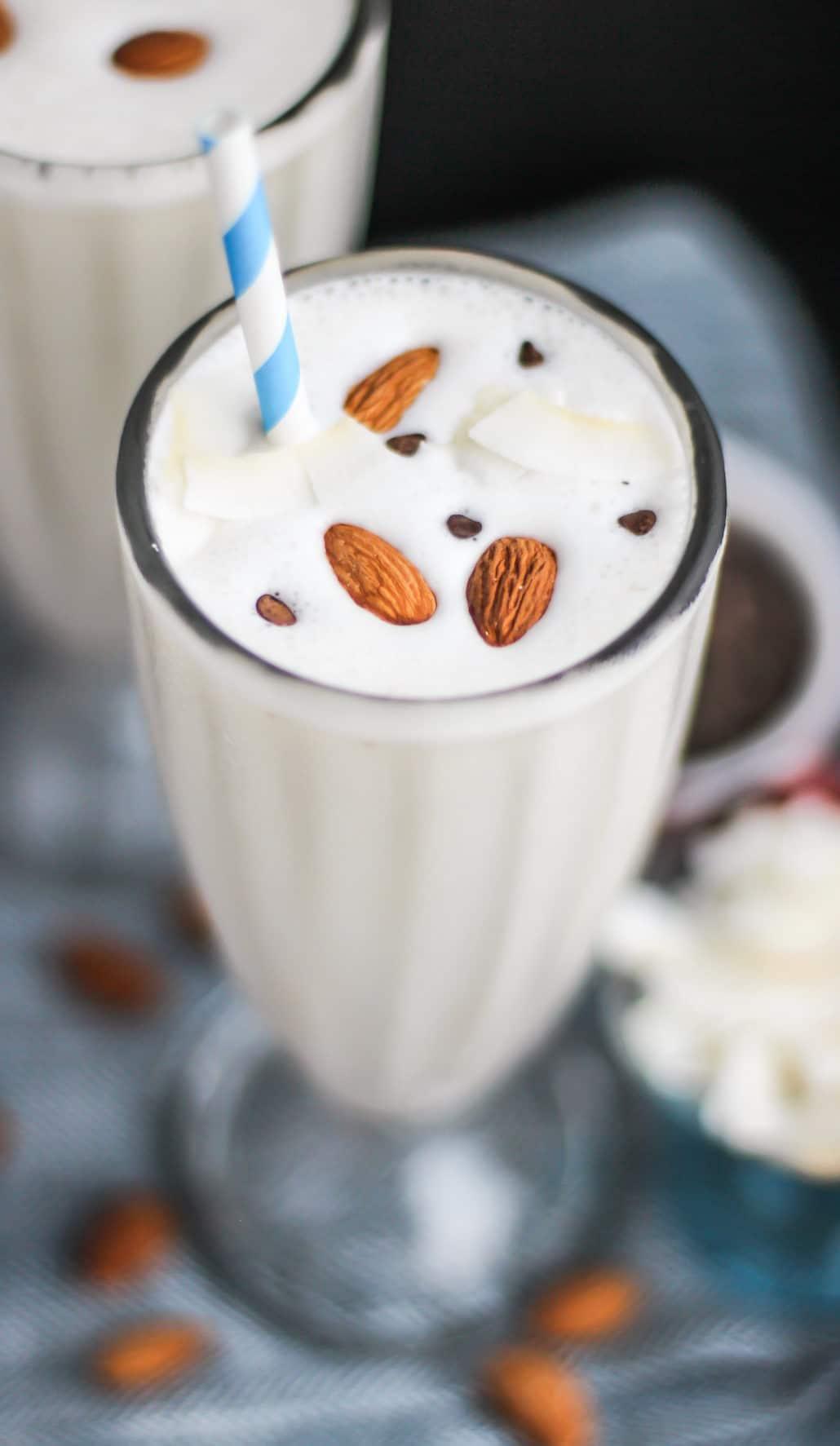 Healthy Almond Joy Milkshake (sugar free, high protein) - Desserts with Benefits