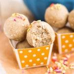 Healthy Cake Batter Energy Bites (refined sugar free, gluten free, vegan) - Desserts with Benefits