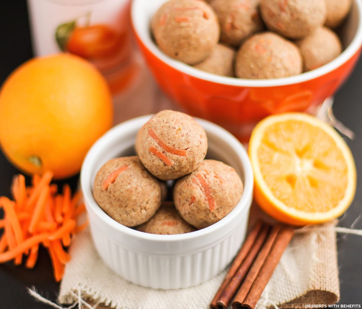 Healthy Carrot Cake Energy Bites (refined sugar free, gluten free, vegan) - Desserts with Benefits