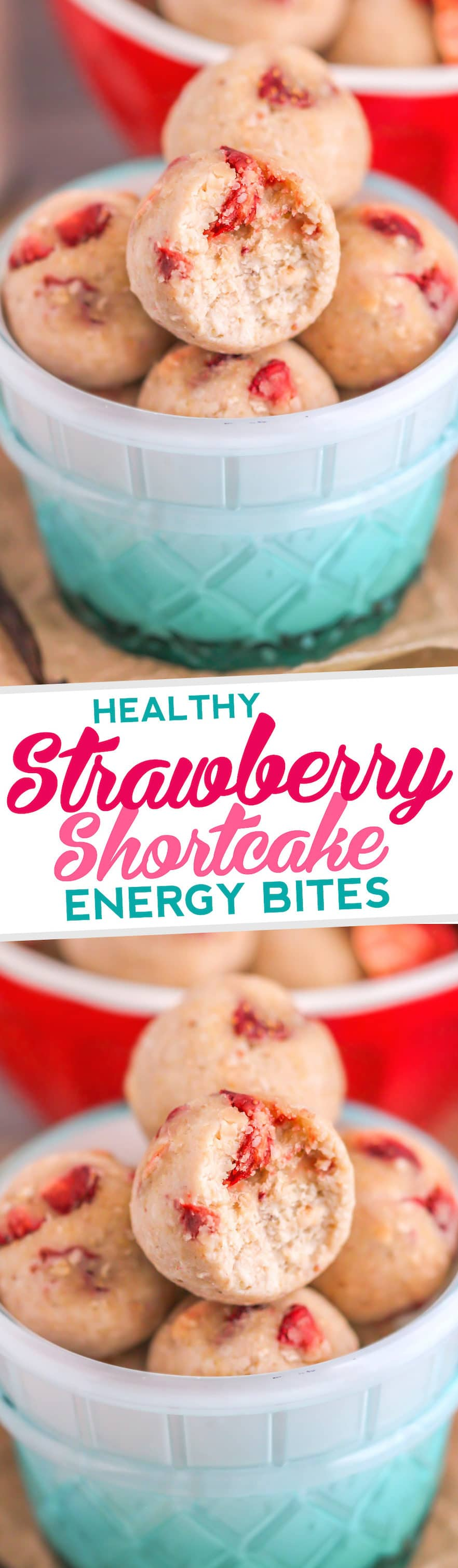 Healthy Strawberry Shortcake Energy Bites (refined sugar free, gluten free) - Desserts with Benefits