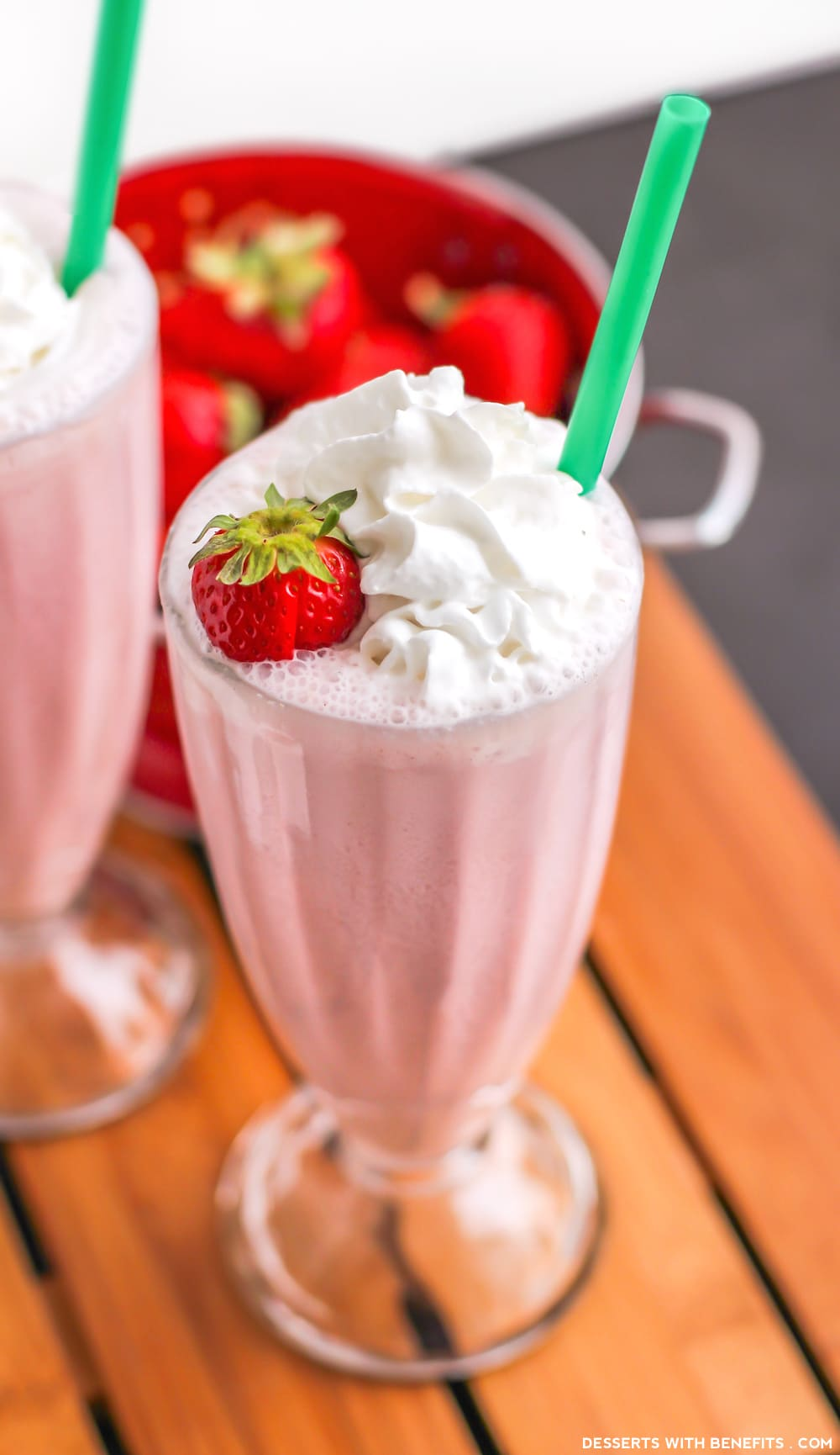 Healthy Homemade Strawberry Frappuccinos (refined sugar free, low fat, high protein) - Desserts with Benefits
