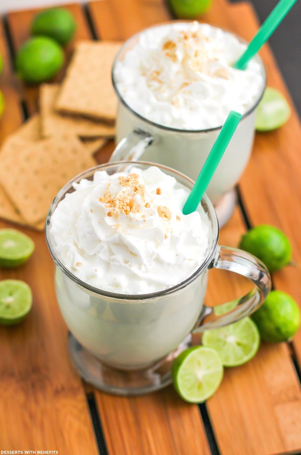 Healthy Key Lime Pie Milkshake (refined sugar free, low carb, high protein, gluten free) - Desserts with Benefits