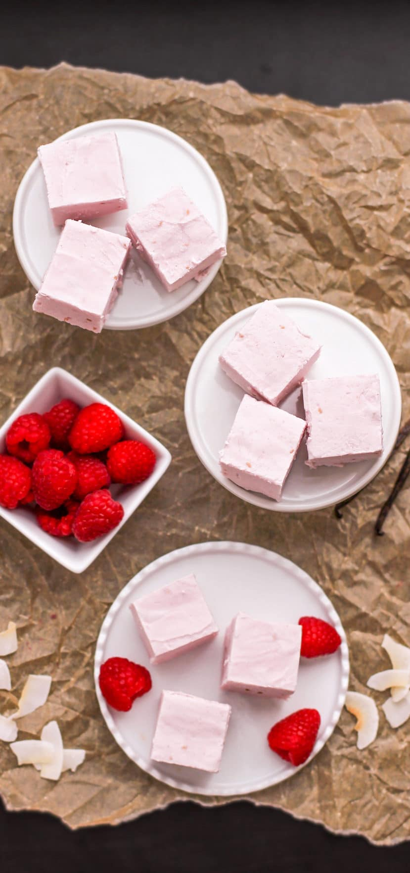 Healthy Raspberry Coconut Fudge (refined sugar free, low carb, high protein) - Desserts with Benefits