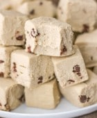 Healthy Chocolate Chip Cookie Dough Fudge (sugar free, gluten free, dairy free, vegan) - Healthy Dessert Recipes at Desserts with Benefits