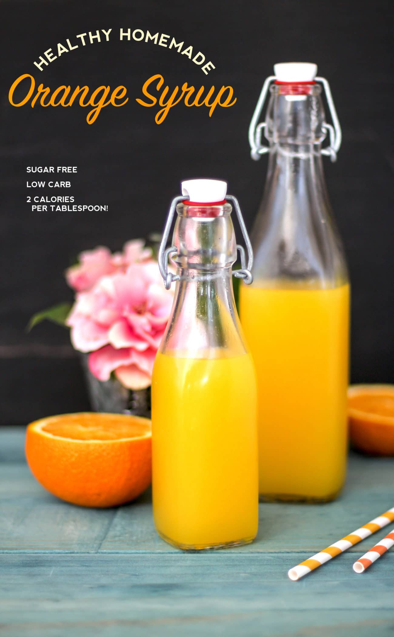 Healthy Homemade Sugar Free Orange Syrup recipe (refined sugar free, low carb, low calorie with only 2 calories per tablespoon!) - Healthy Dessert Recipes at Desserts with Benefits